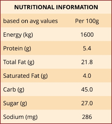 Chocolate Marble Cake with Caramel Nutritional Information